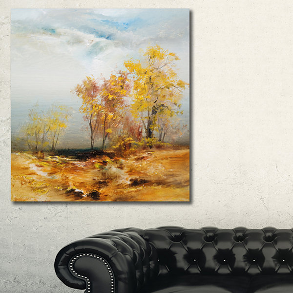 Designart Yellow Trees Oil Painting Landscape Painting Canvas Print - 3 Panels