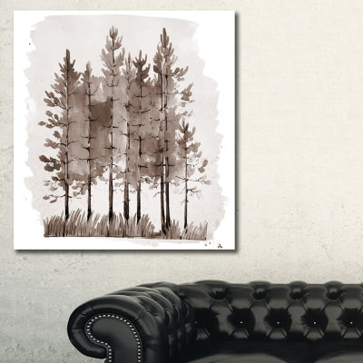 Designart Young Pine Trees Sepia Trees Painting Canvas Art Print - 3 Panels