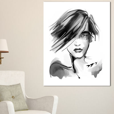 Designart Young Woman Black White Abstract Portrait Canvas Print - 3 Panels