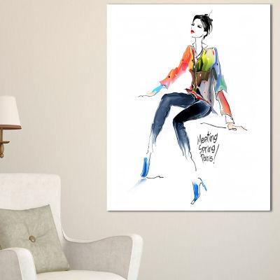 Designart Young Woman Colorful Abstract PortraitCanvas Print - 3 Panels