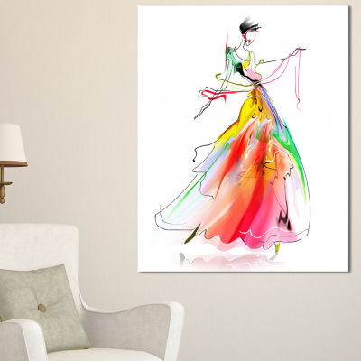 Designart Young Woman Yellow Red Abstract PortraitCanvas Print