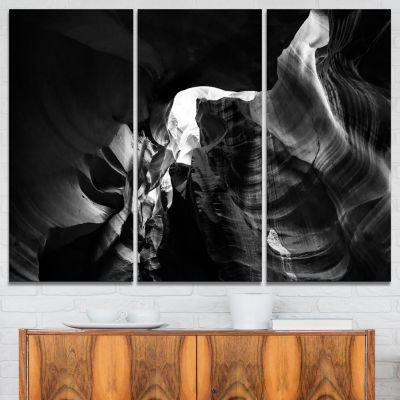 Designart Black And White Antelope Canyon Landscape Photography Canvas Print - 3 Panels