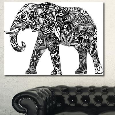 Designart Black Cheerful Elephant Animal Canvas Art Print - 3 Panels