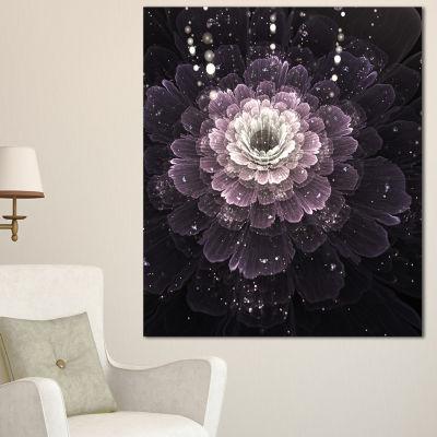 Designart Black Flower With Silver Details FloralArt Canvas Print