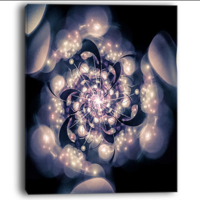 Designart Black White Fractal Flower In Dark Floral Canvas Art Print