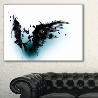 Designart Black Wings Abstract Canvas Art Print -3Panels