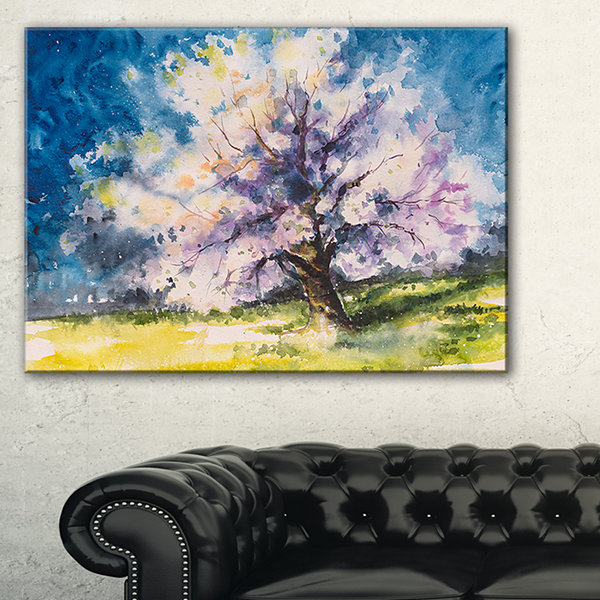 Designart Blooming Cherry Tree Blue Watercolor Floral Canvas Art Print - 3 Panels