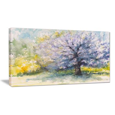 Designart Blooming Cherry Tree Watercolor Floral Canvas Art Print