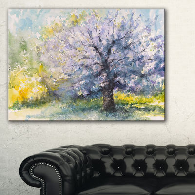 Designart Blooming Cherry Tree Watercolor FloralCanvas Art Print - 3 Panels