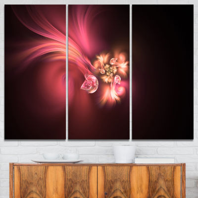 Designart Blooming Fractal Flower Magenta Floral Art Canvas Print - 3 Panels