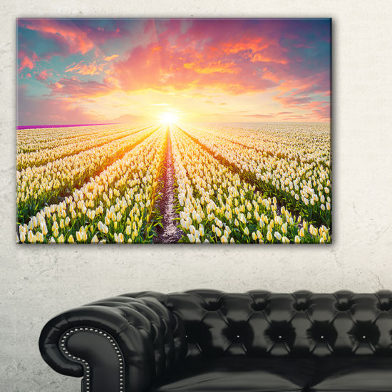 Designart Blooming White Tulips Landscape Photo Canvas Art Print
