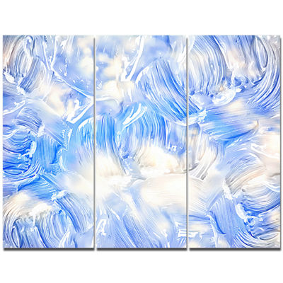 Designart Blue Abstract Pattern Oil Painting Abstract Canvas Painting - 3 Panels