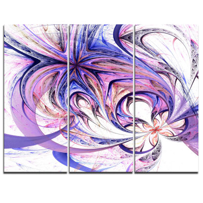 Designart Blue And Pink Flower Pattern Floral ArtCanvas Print - 3 Panels