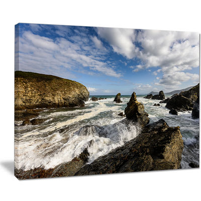 Designart Blue Atlantic Coast In Spain Seashore Photo Canvas Print