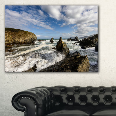 Designart Blue Atlantic Coast In Spain Seashore Photo Canvas Print - 3 Panels