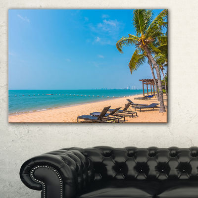 Designart Blue Beach With Palm Trees Seashore Photo Canvas Art Print - 3 Panels
