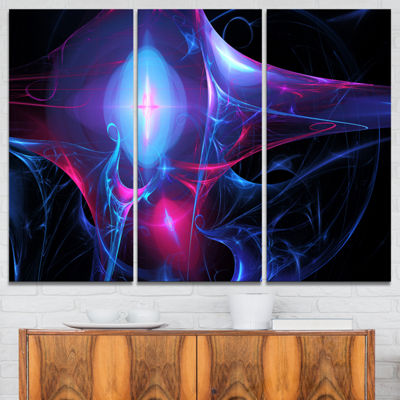 Designart Blue Bright Candle Abstract Canvas ArtPrint - 3 Panels
