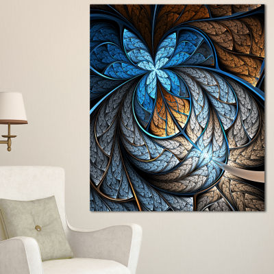 Designart Blue Brown Fractal Flower Pattern FloralArt Canvas Print - 3 Panels