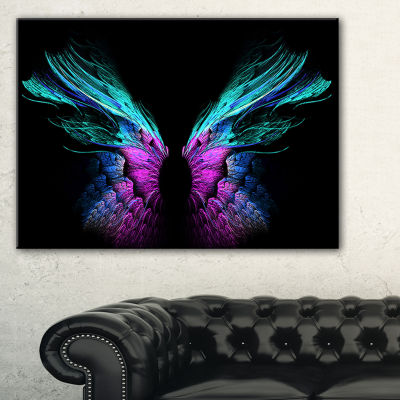 Designart Blue Butterfly Wings Floral Art CanvasPrint - 3 Panels