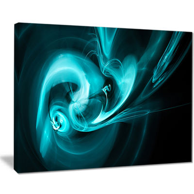 Designart Blue Colored Smoke Pattern Abstract Canvas Art Print
