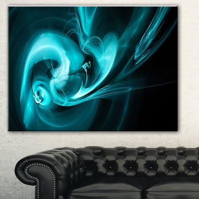 Designart Blue Colored Smoke Pattern Abstract Canvas Art Print - 3 Panels