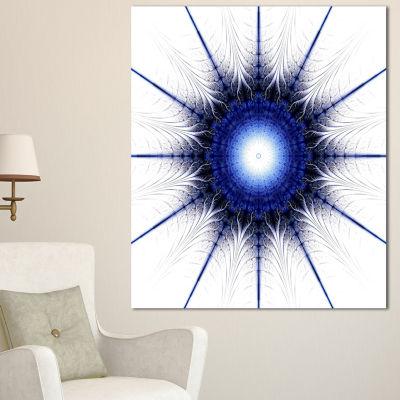 Designart Blue Digital Flower Art Modern Floral Canvas Art Print - 3 Panels
