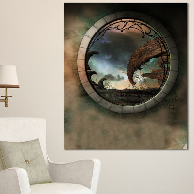 Designart Blue Fantasy Landscape With Frame Photography Canvas Art Print - 3 Panels