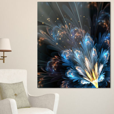 Designart Blue Flower With Golden Details FloralArt Canvas Print