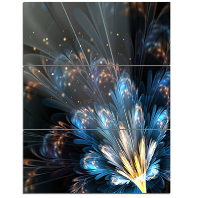Designart Blue Flower With Golden Details FloralArt Canvas Print - 3 Panels