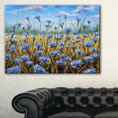 Designart Blue Flowers In Meadow Painting FloralPainting Canvas - 3 Panels