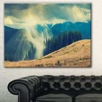 Designart Blue Forest In Fog Landscape PhotographyCanvas Print - 3 Panels