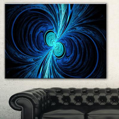 Designart Blue Fractal Abstract Canvas Art Print-3Panels