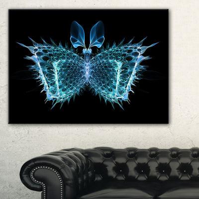 Designart Blue Fractal Butterfly In Dark AbstractCanvas Art Print