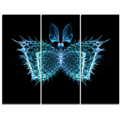 Designart Blue Fractal Butterfly In Dark AbstractCanvas Art Print - 3 Panels