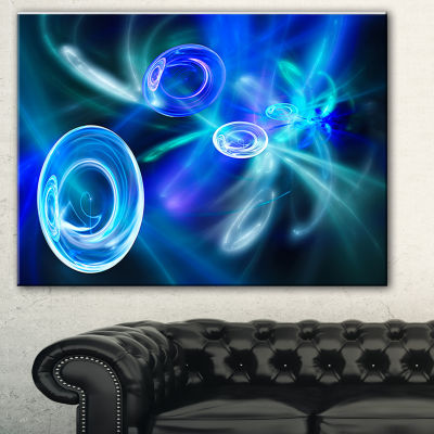 Designart Blue Fractal Desktop Abstract Canvas ArtPrint - 3 Panels