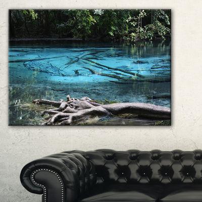 Designart Blue Pond In Deep Forest Landscape Photography Canvas Print