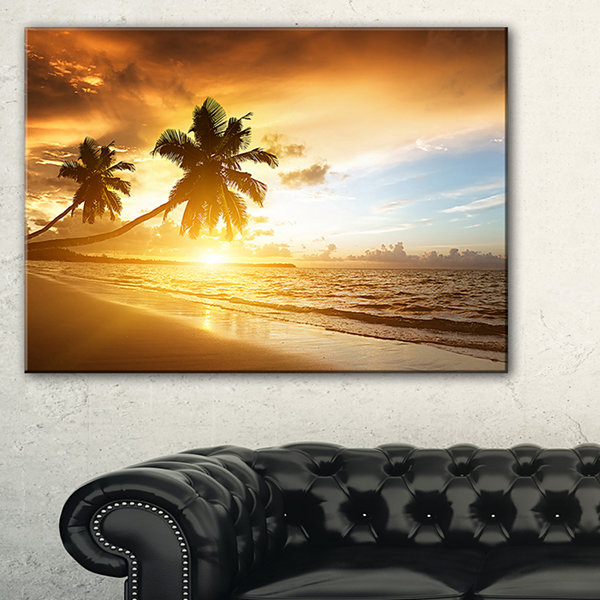 Design Art Caribbean Seashore Sunset Seascape Photography Canvas Art Print - 3 Panels