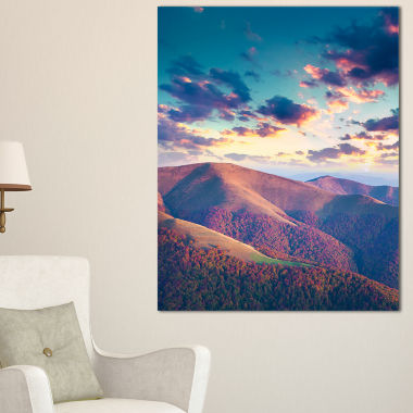 Design Art Carpathian Hills Under Clouds LandscapePhotography Canvas Print