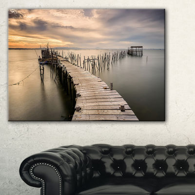 Designart Carrasqueira Old Wooden Pier Seashore Photo Canvas Art Print