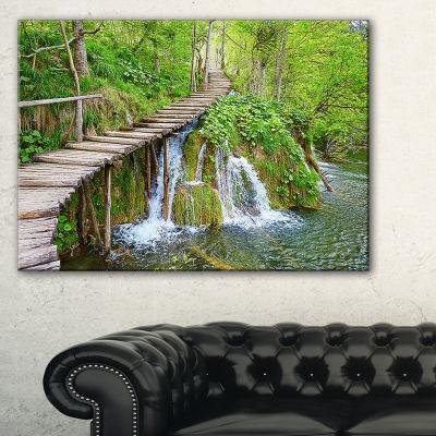 Designart Cascades In Plitvice Lakes Landscape Photography Canvas Art Print