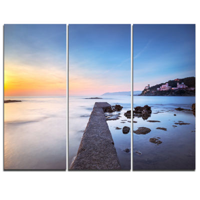 Designart Castiglioncello Bay Concrete Pier Seascape Canvas Art Print - 3 Panels