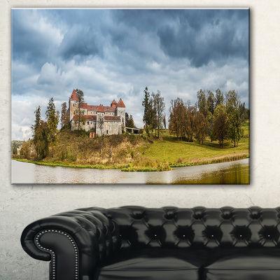 Designart Castle By The Lake Landscape Photo Canvas Art Print