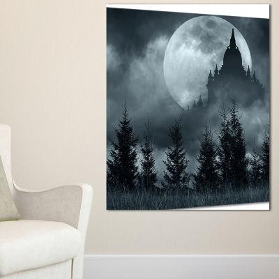 Designart Castle Silhouette In Full Moon LandscapePhoto Canvas Art Print - 3 Panels