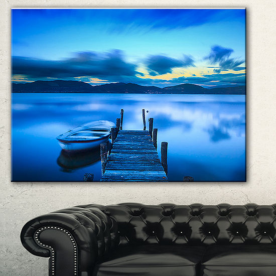 Designart Cloudy Blue Sky With Pier Seascape Canvas Art Print 3 Panels