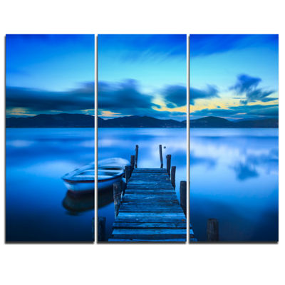Designart Cloudy Blue Sky With Pier Seascape Canvas Art Print - 3 Panels