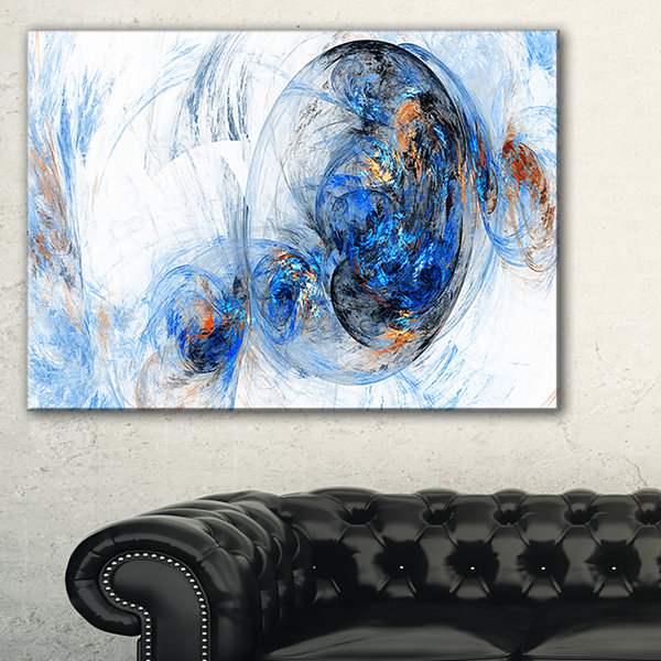 Designart Colored Smoke Dark Blue Abstract CanvasArt Print