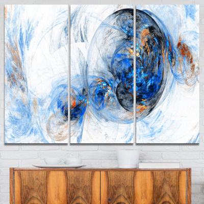 Designart Colored Smoke Dark Blue Abstract CanvasArt Print - 3 Panels