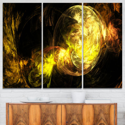 Designart Colored Smoke Golden Abstract Canvas ArtPrint - 3 Panels