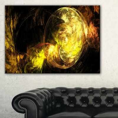 Designart Colored Smoke Golden Abstract Canvas ArtPrint - 3 Panels