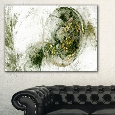 Designart Colored Smoke Green Abstract Canvas ArtPrint - 3 Panels